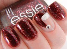 Santa Hat Nails - Essie Leading Lady over Zoya Karina, accent finger includes Zoya Audrey, Zoya Purity and Barielle Stardust