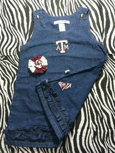~ Texas A&M Aggies Toddler Girl Baby Denim Dress + Free Hair Bow ~Size 2T ~EUC #SaraLynnTogs