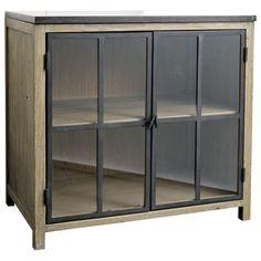 Wood and stone kitchen glazed base unit W 90cm