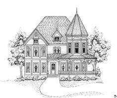 Victorian and Vintage Victorian House Plans; Authentic Historical Designs, Need a historic house plan? Get your historic house floor plan from the top house Victorian House Plans, Victorian Homes, Victorian Design, Gothic House, Victorian Era, Dream House Plans, House Floor Plans, Elevation Plan, Front Elevation