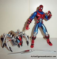 Spider-man the Animated series CYBER SECT SPIDER-MAN 1997 spider-force transforming insect armor complete toy biz action figures nocata
