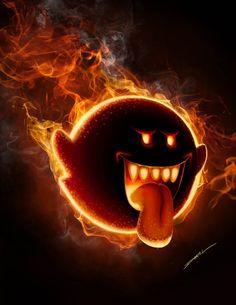Fire Boo by HikaruIshiju on DeviantArt Super Mario And Luigi, Super Mario World, Princesas Disney Zombie, King Boo, Best Gaming Wallpapers, Image 3d, Video Game Art, Video Games, The Villain