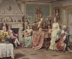 View At the recital by Fortunino Matania on artnet. Browse upcoming and past auction lots by Fortunino Matania. Victorian Paintings, European Paintings, Classic Paintings, Victorian Art, Beautiful Paintings, Art Costume, Antique Paint, Classical Art, Musical
