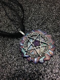 Handmade pentacle poly clay amulet  necklace goddess necklace gems,  pagan, Goddess, , witchcraft jewellery,wiccan jewelry by CrysalMoonGiftss on Etsy