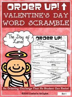 Order Up! Valentine's Day Word Scramble