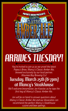 JOIN US AS WE CELEBRATE TAPPING OUR NEW BREW... TUESDAY AT MANCY'S STEAKHOUSE FROM 6 - 7PM  #PAPOUSBREW...MANCY'S CLASSIC AMBER ALE  #mancysitaliangrill #mancysbluewatergrille #mancyssteakhouse #shortysbbqtoledo #toledocraftbeer #maumeebaybrewingco