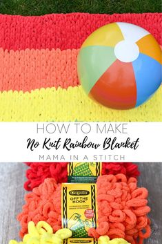 This loop yarn blanket is such a fun kids craft and it's fun for adults too! You don't have to have knitting skills or crochet skills. It's completely beginner friendly. There's a video tutorial as well as a picture tutorial to help you along. Finger Knitting, Easy Knitting, Finger Crochet, Loom Knitting, Crochet Blanket Patterns, Baby Knitting Patterns, Crochet Afghans, Yarn Projects, Knitting Projects