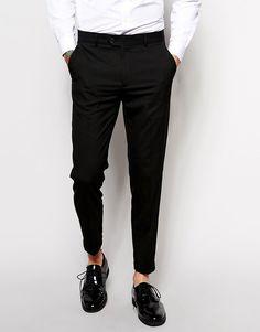 d81c425aec0 ASOS Skinny Crop Smart Pants In Black - Black Cropped Trousers Men