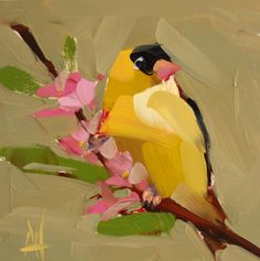 Goldfinch no. 72 original bird oil painting by Angela Moulton 6 x 6 inch on panel