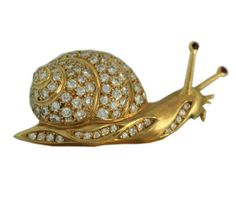 Diamond Gold Snail Pin By Mauboussin, Paris, 1970's.