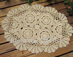 Handmade Crochet Round Tablecloth/ Tablelinen by TableclothShop Crochet Table Mat, Crochet Tablecloth, Round Tablecloth, Crochet Doily Patterns, Crochet Doilies, Crochet Ideas, Crochet Round, Hand Crochet, Handmade Shop
