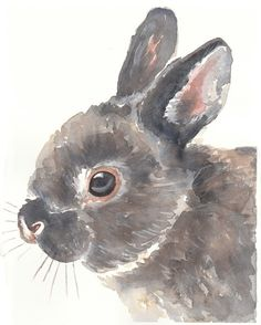 SALE ORIGINAL Bunny Rabbit Watercolor Painting by WaterInMyPaint