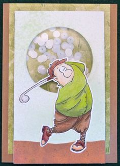 Art Impressions Rubber Stamps: Ai People: Gordon Golfer Set (Sku#4325) ... handmade masculine sports card. shaker, window