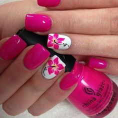 Pretty nail art designs for summer 18 hawaiian flower nails, flower on nails Pink Gel Nails, Diy Nails, Diy Beach Nails, Bright Pink Nails, Bright Summer Nails, Ombre Nail, Pastel Nails, Acrylic Nails, Cute Summer Nails