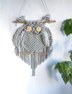 Macrame Owl Wall hangings,Wall decor Art handmade Boho,Owl gray white,Owl lover gifts,Dreamcatcher,owl decor,owl figurine,owl decor nursery