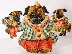 Vintage pop-up pug dog decoration Pugs, Adult Pug, Pug Breed, Pug Mops, Pug Cartoon, Baby Friends, Pug Art, Pug Pictures, Dog Rooms