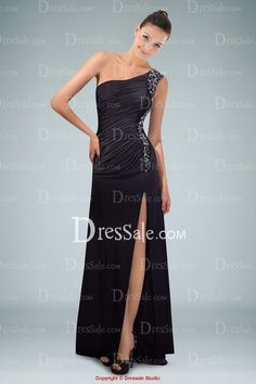 Distinguished One-shoulder Side Split Evening Dress with Beaded Appliques and Pleats