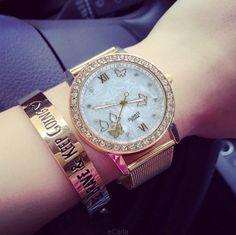 Złoty zegarek damski Bloger cyrkonie butterfly EdiBazzar Michael Kors Watch, Boho Fashion, Hair Beauty, Watches, Boho Style, Metal, Accessories, Jewelry, Bohemian Fashion