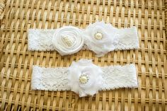 White Wedding Garter Set Bridal Garter by ThePinkBunnyWeddings, $18.99