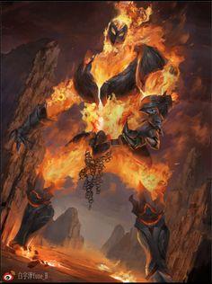 The flame 火焰巨像, Yuze Bai on ArtStation at https://www.artstation.com/artwork/the-flame