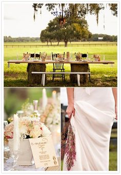 table with bales of hay. maybe not for me, but great for a country style wedding!