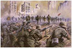 Soviet army attack German positions in Stalingrad. Stalingrad saw some of the hardest and most brutal fighting of the war.