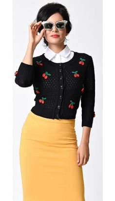 Swooning over this Vintage Style Black & Red Cherry Three-Quarter Sleeve Knit Crop Cardigan!