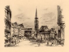 1935 Frankfurt Old City Germany Antique Lithograph by Craftissimo, €12.00