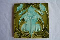 Alte Jugendstil Fliese Kachel 15,2 cm x 15,2 cm Antik erhabenes Muster | eBay