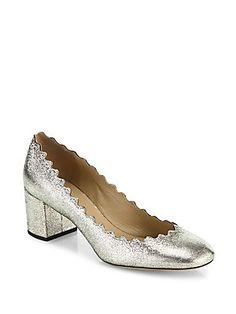 Chloé Lauren Metallic Leather Block Heel Pumps