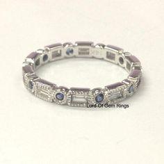 Blue Sapphire Baguette Diamond Wedding Band Eternity Anniversary Ring 14K White Gold Art Deco - Lord of Gem Rings - 1