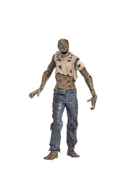 Zombie Lurker comes with a gory surprise. Pull its torso up, and it splits apart at the waist, exposing its intestines and other internal organs, transforming it into a legless crawler. Also features removable arm segments and a head that splits at the jaw line, all exposing layers of decaying muscle, bones, and blood. To Ricks group of survivors, there are two types of zombies. Roamers are the ones that actively wander around, while Lurkers remain still until disturbed by a living creature.