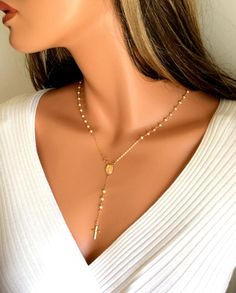 Pearl Rosary Necklace Women Cross Pendant Gold Rosaries 14kt