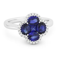 1.96ct Sapphire Cluster & Diamond Pave Right-Hand Flower Ring in 18k White Gold - AlfredAndVincent.com