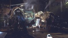 Two T-Rex animatronic models behind the scenes in The Lost World (1997) #JurassicPark