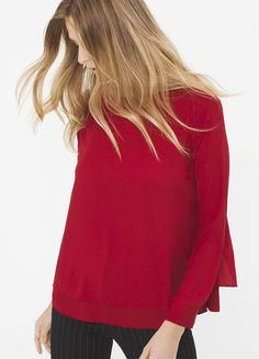 Infuse a bit of romance into your every day with this woven blouse. Like the most exquisite red rose, it offers a breathtaking layered look, emphasized by a breezy back. | White House Black Market