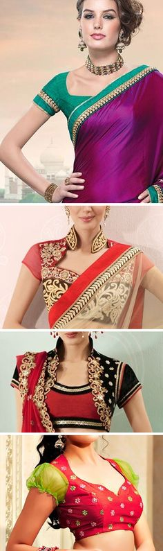 Saree / Sari blouses and necklines - Indian fashion Choli Designs, Sari Blouse Designs, Saree Blouse Patterns, Indian Attire, Indian Wear, Saris, India Fashion, Asian Fashion, Indian Dresses