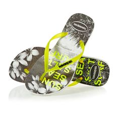 www.flipflopsuk.co.uk  Havaianas Slim Paisage Flip Flops - White/Yellow!  #Flipflops #Espadrilles