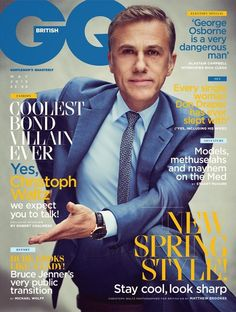 Christoph Waltz plays Bond villain Franz Oberhauser in Spectre. He's also on the cover of British GQ's May issue. Christoph Waltz, Quentin Tarantino, James Bond, Alastair Campbell, Nick Clegg, Gq Magazine, Magazine Covers, Don Draper, Interview