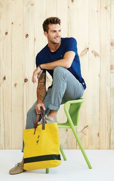 Inspiration...love the yellow and blue bag....leather handles and nautical image....