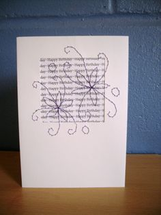 Birthday Card Stitched Flower Greetings Card