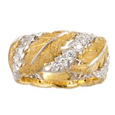 BUCCELLATI Diamond White Gold Leaf Band
