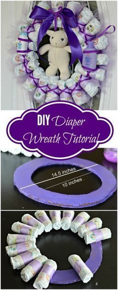 Tired of Diaper Cakes at Baby Showers? Check out this Diaper Wreath Tutorial! This article will show you step by step how to make it. #SnugHugs #Ad www.TopsyTurvyDiaperCake.com - washcloth favors, washcloth animals, diaper cakes, and baby shower gifts