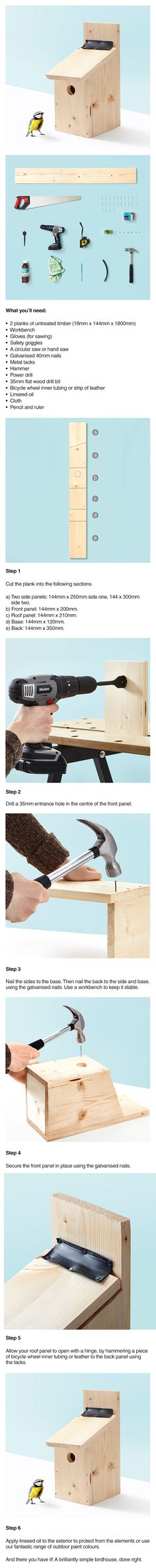 How to make your own Birdhouse.                                                                                                                                                                                 More