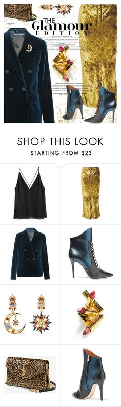 """Glamourrr"" by cilita-d ❤ liked on Polyvore featuring H&M, Khaite, Vanessa Seward, Malone Souliers, Diego Percossi Papi, Elizabeth Arden and Yves Saint Laurent"