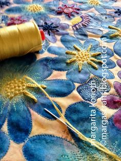 "Margarita Korioth: Quilting/ Mixed Media Artist, Paper + Fabric creates a beautiful texture using #Aurifi 12 wt and 28wt threads on infused newsprint fabric. ""I love how the different thickness of threads with a combination of simple stitches made the quilt *sing* creating texture and dimension."" To see more please visit http://margascrafts.blogspot.com/2014/10/creating-texture-on-paper-and-fabric.html"
