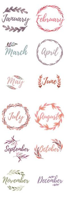 Bullet Journal Monthly Cover Pages. Water color floral wreaths with the months, blank wreaths for DIY lettering Printable Bullet Journal Monthly Cover Pages. Water colorPrintable Bullet Journal Monthly Cover Pages. Bullet Journal Inspo, My Journal, Bullet Journal Water Tracker, Fitness Journal, Bullet Journal Months, Journal Fonts, Bullet Journal Printables, Bullet Journal Title Page, Journal Pages Printable