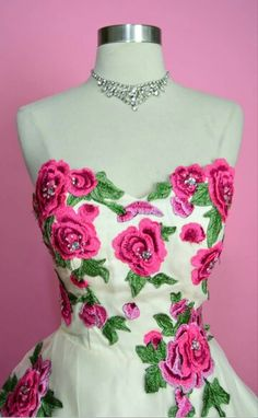 Beautiful rose embroided 50s inspired gown