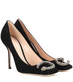 mytheresa.com - Verzierte Pumps Dionysus aus Veloursleder - Schuhe - Gucci - Designer - Luxury Fashion for Women / Designer clothing, shoes, bags