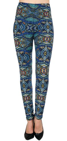 Printed Brushed Leggings - Raging Aqua  #Leggings #VIVCollection #Fashion #OOTD